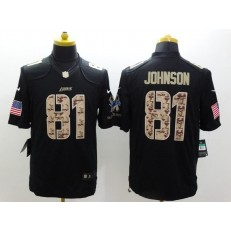 Detroit Lions #81 Calvin Johnson Black Men Stitched Nike NFL Limited Salute to Service Jersey