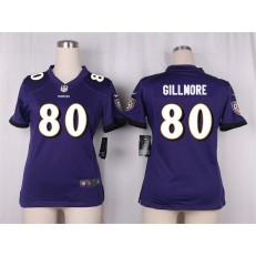 Women Nike Baltimore Ravens #80 Crockett Gillmore Game Purple Team Color NFL Jersey