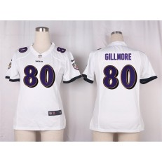 Women Nike Baltimore Ravens #80 Crockett Gillmore Game White NFL Jersey