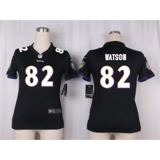 Women Nike Baltimore Ravens #82 Benjamin Watson Game Black Alternate NFL Jersey