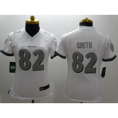 Women Nike Baltimore Ravens #82 Torrey Smith Platinum White Limited NFL Jersey