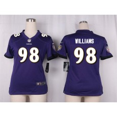Women Nike Baltimore Ravens #98 Brandon Williams Game Purple Team Color NFL Jersey
