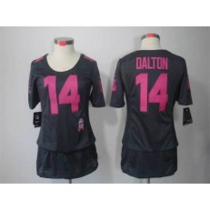 Women Nike Cincinnati Bengals #14 Andy Dalton Breast Cancer Awareness Gray Jersey
