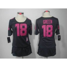 Women Nike Cincinnati Bengals #18 AJ Green Breast Cancer Awareness Gray Jersey