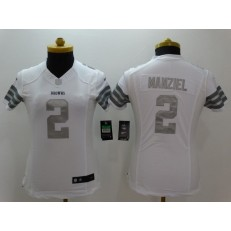 Women Nike Cleveland Browns #2 Johnny Manziel White Platinum NFL Limited Jersey