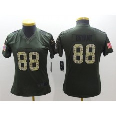 Women Nike Dallas Cowboys #88 Dez Bryant Green Salute to Service Limited NFL Jersey