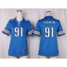 Women Nike Detroit Lions #91 A'Shawn Robinson Game Light Blue Team Color NFL Jersey