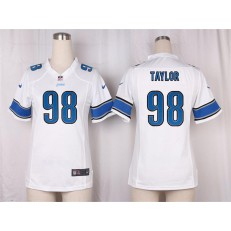 Women Nike Detroit Lions #98 Devin Taylor Game White NFL Jersey