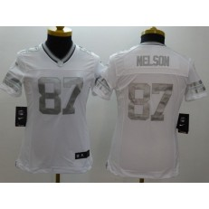 Women Nike Green Bay Packers #87 Jordy Nelson Platinum White Limited NFL Jersey