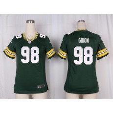 Women Nike Green Bay Packers #98 Letroy Guion Game Green Team Color NFL Jersey