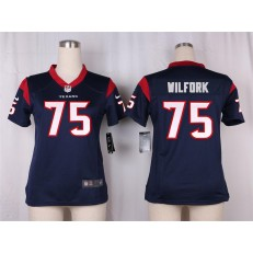 Women Nike Houston Texans #75 Vince Wilfork Game Navy Blue Team Color NFL Jersey