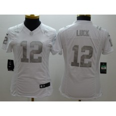 Women Nike Indianapolis Colts #12 Andrew Luck White Platinum NFL Jersey