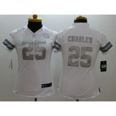 Women Nike Kansas City Chiefs #25 Jamaal Charles Platinum White Limited NFL Jersey