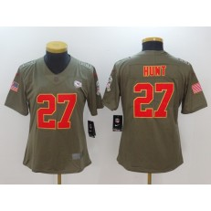 Women Nike Kansas City Chiefs #27 Kareem Hunt Olive 2017 Salute To Service Limited NFL Jersey