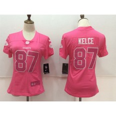 Women Nike Kansas City Chiefs #87 Travis Kelce Pink Stitched NFL Limited Rush Fashion Jersey