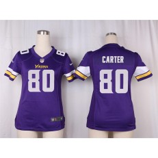 Women Nike Minnesota Vikings #80 Cris Carter Game Purple Team Color NFL Jersey