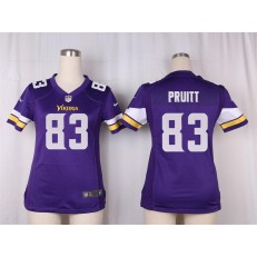 Women Nike Minnesota Vikings #83 Pruitt Game Purple Team Color NFL Jersey