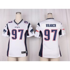 Women Nike New England Patriots #97 Alan Branch Game White NFL Jersey