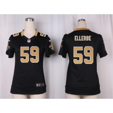 Women Nike New Orleans Saints #59 Dannell Ellerbe Game Black Team Color NFL Jersey