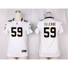 Women Nike New Orleans Saints #59 Dannell Ellerbe Game White NFL Jersey