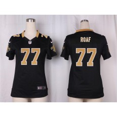 Women Nike New Orleans Saints #77 Willie Roaf Game Black Team Color NFL Jersey