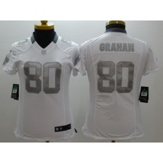 Women Nike New Orleans Saints #80 Jimmy Graham White Platinum NFL Football Jersey