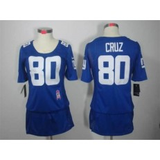 Women Nike New York Giants #80 Victor Cruz Breast Cancer Awareness Blue NFL Jersey