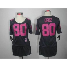 Women Nike New York Giants #80 Victor Cruz Breast Cancer Awareness Gray NFL Jersey