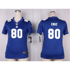 Women Nike New York Giants #80 Victor Cruz Game Royal Blue Team Color NFL Jersey