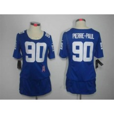 Women Nike New York Giants #90 Jason Pierre-Paul Breast Cancer Awareness Blue NFL Jersey