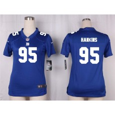 Women Nike New York Giants #95 Johnathan Hankins Game Royal Blue Team Color NFL Jersey