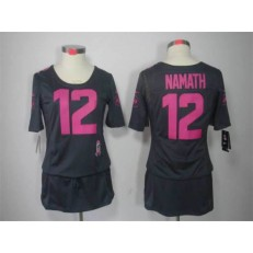 Women Nike New York Jets #12 Joe Namath Breast Cancer Awareness Gray NFL Jersey