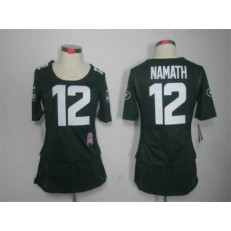Women Nike New York Jets #12 Joe Namath Breast Cancer Awareness Green NFL Jersey