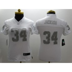 Women Nike Oakland Raiders #34 Bo Jackson White Stitched NFL Limited Platinum Jersey