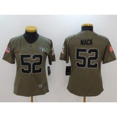Women Nike Oakland Raiders #52 Khalil Mack Olive 2017 Salute To Service Limited NFL Jersey