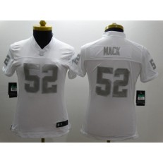 Women Nike Oakland Raiders #52 Khalil Mack White Stitched NFL Limited Platinum Jersey