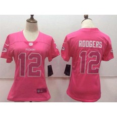 Women Nike Green Bay Packers #12 Aaron Rodgers Pink Stitched NFL Limited Rush Fashion Jersey