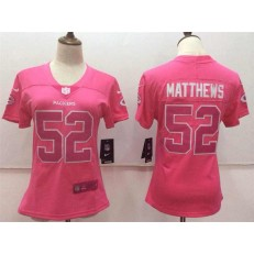 Women Nike Green Bay Packers #52 Clay Matthews Pink Stitched NFL Limited Rush Fashion Jersey