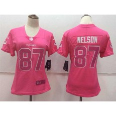 Women Nike Green Bay Packers #87 Jordy Nelson Pink Stitched NFL Limited Rush Fashion Jersey