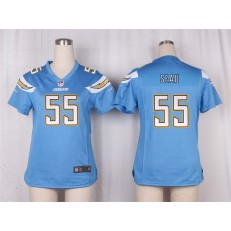 Women Nike San Diego Chargers #55 Junior Seau Game Electric Blue Alternate NFL Jersey