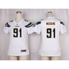 Women Nike San Diego Chargers #91 Mebane Game White NFL Jersey