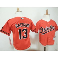 MLB Baltimore Orioles 13 Manny Machado Orange Toddler Jersey