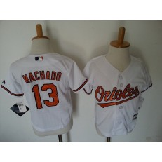 MLB Baltimore Orioles 13 Manny Machado White Toddler Jersey