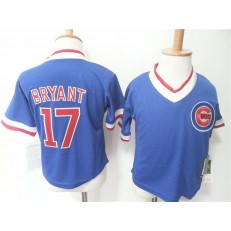 MLB Chicago Cubs 17 Kris Bryant Blue Pullover Toddler Jersey