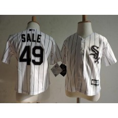 MLB Chicago White Sox 49 Chris Sale White With Black Pinstripe Toddler Jersey
