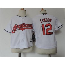 MLB Cleveland Indians 12 Francisco Lindor White Home Cool Base Toddler Jersey