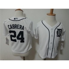 MLB Detroit Tigers 24 Miguel Cabrera White Cool Base Toddler Jersey