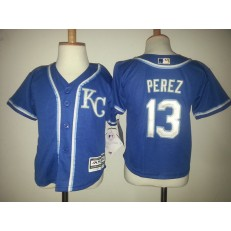 MLB Kansas City Royals 13 Salvador Perez Blue Cool Base Toddler Jersey