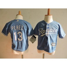 MLB Kansas City Royals 13 Salvador Perez Light Blue Alternate Cool Base Toddler Jersey