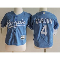 MLB Kansas City Royals 4 Alex Gordon Light Blue Cool Base Toddler Jersey